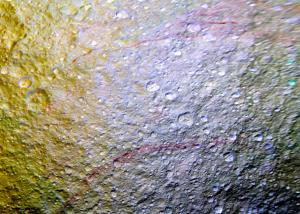 An enhanced-color mosaic of Saturn's moon Tethys.