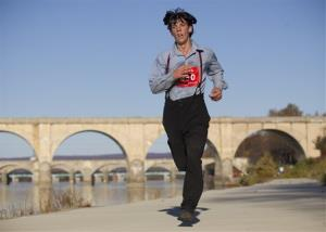 Leroy Stolzfus completed the 26.2-mile Harrisburg Marathon Nov. 8 in Pennsylvania despite running in his traditional Amish clothing.