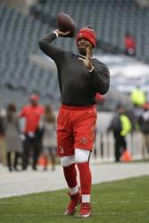 Tampa Bay Buccaneers' Jameis Winston warms up before a game on Nov. 22.