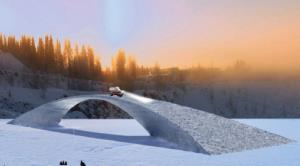A 3D rendering of the world's longest ice bridge, which is currently being built in Finland.