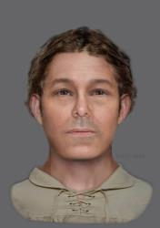 A facial reconstruction based on the skull of the skeleton found beneath the playground at Victoria Primary School in Edinburgh.