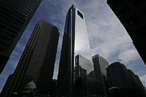 The Comcast Center skyscraper, center, stands above other buildings in Philadelphia in this Oct. 10, 2007 file photo.
