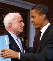 In this file photo, rivals John McCain and Barack Obama meet in Washington. Both presidential hopefuls disagreed with the Supreme Court's ruling against the death penalty.