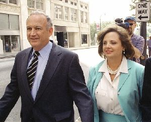 John and Patsy Ramsey leave their attorney Lin Wood's offices on Monday, Aug. 28, 2000.