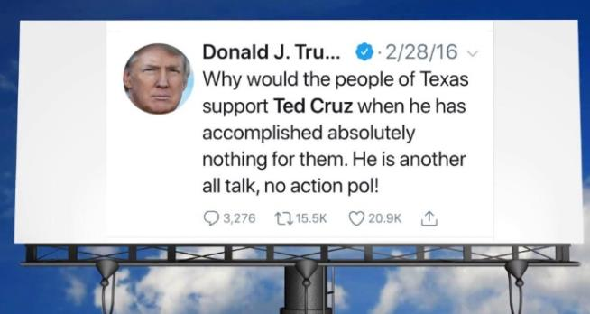 Ted Cruz speaks out about billboard with old Trump Tweet