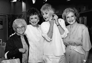 In this December 1985 file photo, actresses Estelle Getty, Rue McClanahan, Bea Arthur, and Betty White, from the television series The Golden Girls, are shown during a break in taping in Hollywood.