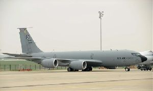 A KC 135 tanker aircraft of the U.S. Air Force stands on the tarmac of Ferihegy Airport in Budapest, Hungary, Thursday, April 3, 2008.