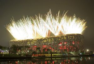 Fireworks explode during the Opening Ceremony of the Beijing 2008 Olympics over the National Stadium in Beijing.