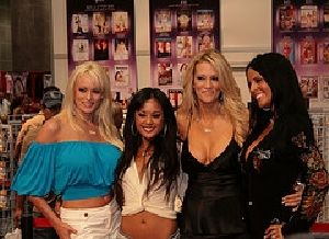 Mikayla Mendez poses with fellow adult industry actresses during a convention in Las Vegas.