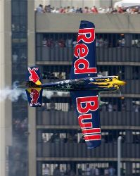 Winner Kirby Chambliss  competes in The Red Bull Air Race held over the Detroit River between Detroit, Michigan, and Windsor, Ontario, Sunday June 1. 2008.