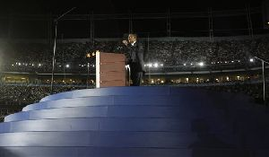 Barack Obama gives his acceptance speech at the Democratic National Convention in Denver, Aug. 28, 2008.