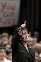 Republican vice presidential candidate Sarah Palin speaks during a rally yesterday in Omaha, Neb.