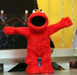 Elmo Live performs at a Toy Fair press preview on Thursday, Feb. 14, 2008 in New York.  The toy is expected to be a major seller this holiday shopping season.