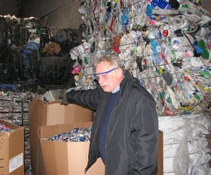 Kanawha County, WVa, is no longer accepting aluminum cans and plastics at the Slack Street Recycling Center in Charleston, seen on Nov. 21, 2008.