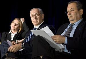 Kadima party leader Tzipi Livni, left, Likud party leader Benjamin Netanyahu, center, and Labor Party leader Ehud Barak attend a conference in Tel Aviv, Israel, Monday, Dec. 15, 2008
