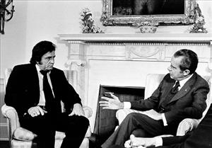 Johnny Cash advocated prison reform at this 1972 meeting with former President Richard Nixon.