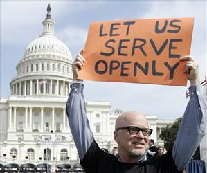 In this March 26, 2007, photo, Andrew Chapin takes part in a rally on Capitol Hill, supporting efforts to repeal the military's Don't Ask, Don't Tell policy regarding gay service members.