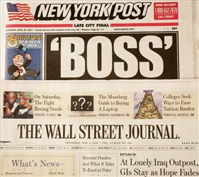 Recent cover pages of The New York Post, top, and The Wall Street Journal are shown, Thursday, May 3, 2007 in New York.