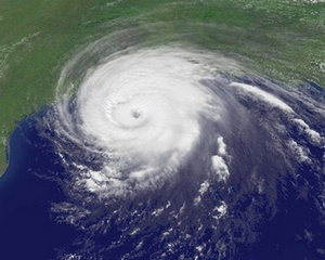OVER THE GULF OF MEXICO-- NOAA satellite image of Hurricane Rita taken at 2:15 p.m. EDT on September 23, 2005, as the outer bands of the Category Three storm lash Gulf Coast regions.