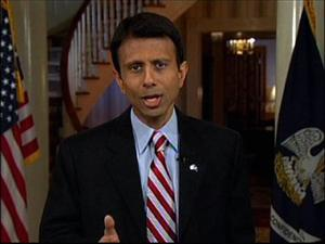 Louisiana Gov. Bobby Jindal delivers the Republican Party's official response to President Barack Obama's address to a joint session of Congress yesterday.