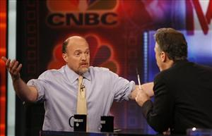 Jim Cramer, left, host of Mad Money on CNBC,  talks with Jon Stewart during an appearance on  The Daily Show with Jon Stewart Thursday, March 12, 2009 in New York.