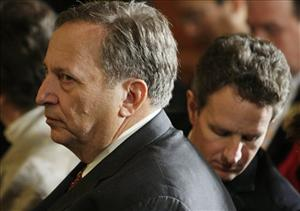 Treasury Secretary Tim Geithner, right, and National Economic Council Director Lawrence Summers, left, await President Barack Obama in the East Room of the White House in Washington, Feb. 6, 2009.