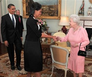 US President Barack Obama and his wife Michelle, are welcomed by Britain's Queen Elizabeth II and Prince Philip, during an audience at Buckingham Palace in London, Wednesday April 1, 2009.