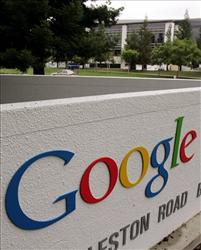 The Google headquarters sign is seen in a Mountain View, Calif.