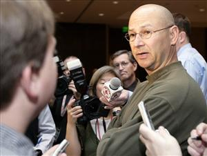 Boston Red Sox manager Terry Francona answers questions prior to the 69th Boston Baseball Writers' Banquet in Boston on Jan. 17, 2008.