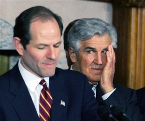 In this file photo from February 2007, former New York Gov. Eliot Spitzer, left, and former Senate Majority Leader Joseph Bruno appear at a news conference in Albany, NY.