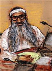 In this sketch by courtroom artist Janet Hamlin, Sept. 11 attack co-defendant Khalid Sheikh Mohammed sits during a hearing on Jan. 19, 2009.