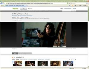 In this screen shot taken from Hulu.com, an episode of Terminator: The Sarah Connor Chronicles is shown as it is streamed on Hulu.com.