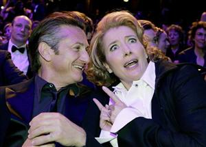 Sean Penn and Emma Thompson pose prior to the annual 34th Cesar awards ceremony in Paris, Friday, Feb. 27, 2009.