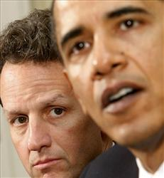 Treasury Secretary Timothy Geithner listens as President Barack Obama makes remarks at the White House, April 23, 2009, after meeting with representatives of the credit card industry.