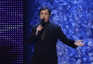 Jimmy Kimmel hosts the American Music Awards in Los Angeles, Nov. 23, 2008.