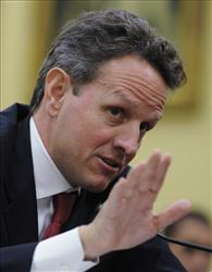Treasury Secretary Timothy Geithner testifies on Capitol Hill in Washington, Thursday, May 21, 2009, before a House Appropriations subcommittee.