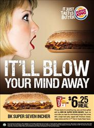 Burger King's ad for the new seven-inch sandwich.