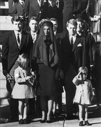 Members of the Kennedy family at the funeral of John F. Kennedy. From left: Edward Kennedy, Caroline Kennedy, Jackie Kennedy, Robert Kennedy, and John Kennedy.