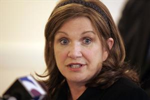 In an Oct. 7, 2008 file photo Elizabeth Edwards, wife of former Democratic Presidential candidate John Edwards, speaks during a press conference on health care in Richmond, Va.