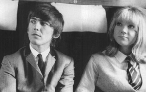 Pattie Boyd and George Harrison in A Hard Day's Night.