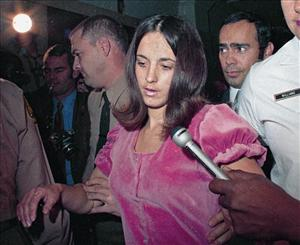 Susan Atkins, convicted of seven 1969 Mansion cult murders, talks to the media in 1970.