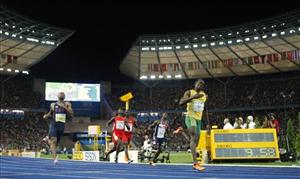 Jamaica's Usain Bolt crosses the finish line in the final of the men's 100-meter race at the World Athletics Championships at the Berlin Olympic Stadium yesterday.
