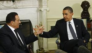 President Barack Obama meets with Egyptian President Hosni Mubarak in the Oval Office today.