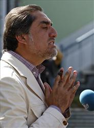 Afghan presidential candidate Abdullah Abdullah holds a press conference in Kabul, Afghanistan, Sunday Aug. 23, 2009.