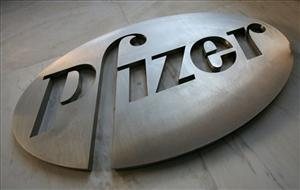 The company logo for drugmaker Pfizer Inc.