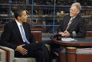In this photo originally provided by CBS, Barack Obama talks with David Letterman in 2007.