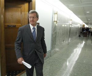Senate Finance Committee Chairman Sen. Max Baucus, D- Mont. leaves his health care news conference on Capitol Hill in Washington, Sept. 16, 2009.