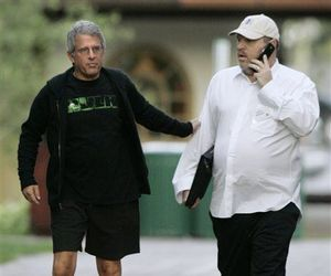 Ron Meyer, president and COO of Universal Studios, walks with Harvey Weinstein, right, to the annual Allen & Co.'s media conference Thursday, July 10, 2008, in Sun Valley, Idaho.