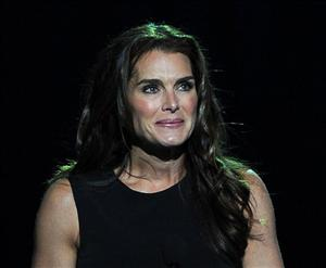 Brooke Shields speaks at the memorial service for music legend Michael Jackson, at the Staples Center in Los Angeles, on Tuesday, July 7, 2009.