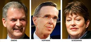 Congressional candidates in New York's 23rd district, from left, Democrat Bill Owens, Conservative Party Doug Hoffman, and Republican Dede Scozzafava.
